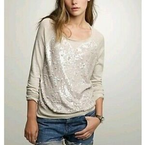 J. Crew Sequin Crewneck Top Light Grey